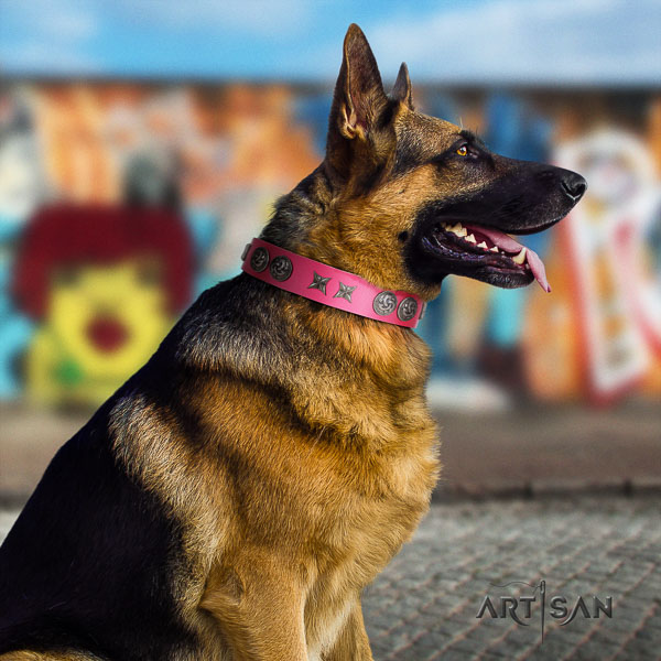 German Shepherd convenient full grain genuine leather collar with embellishments for your canine