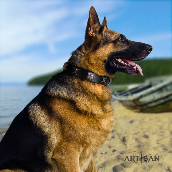 German Shepherd handcrafted full grain genuine leather collar with decorations for your pet