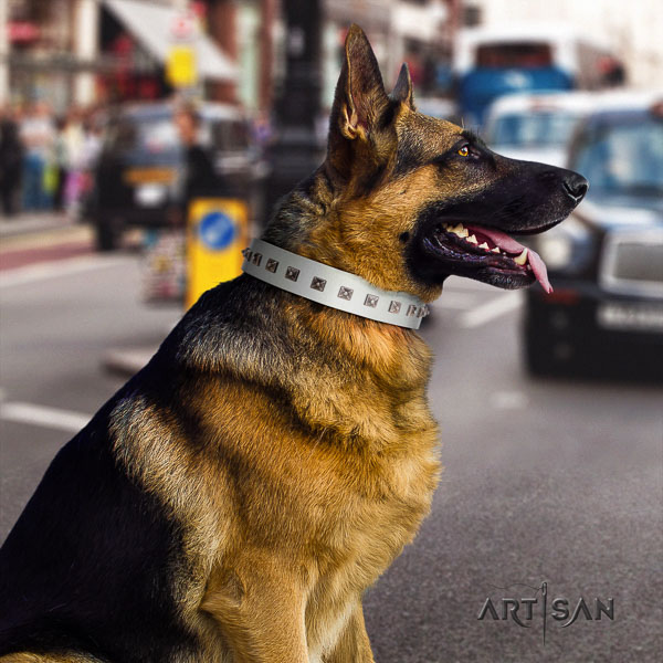 German Shepherd adjustable natural genuine leather collar with decorations for your canine