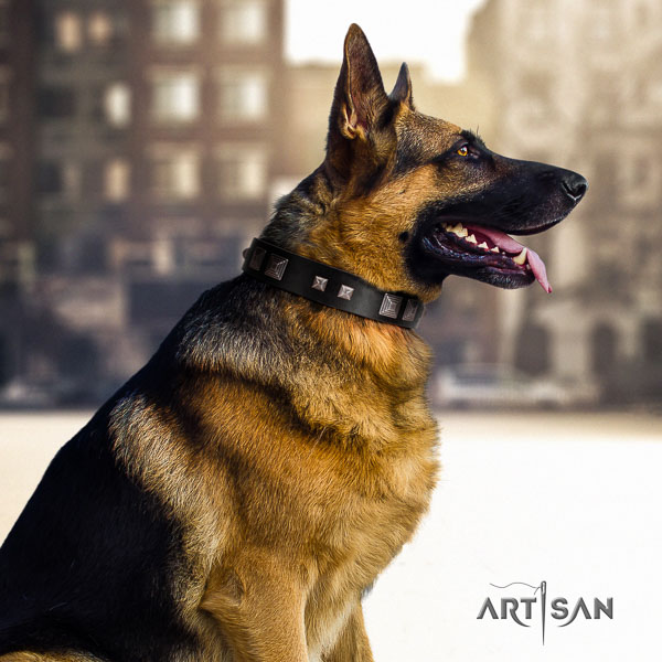 German Shepherd easy adjustable full grain leather collar with embellishments for your four-legged friend