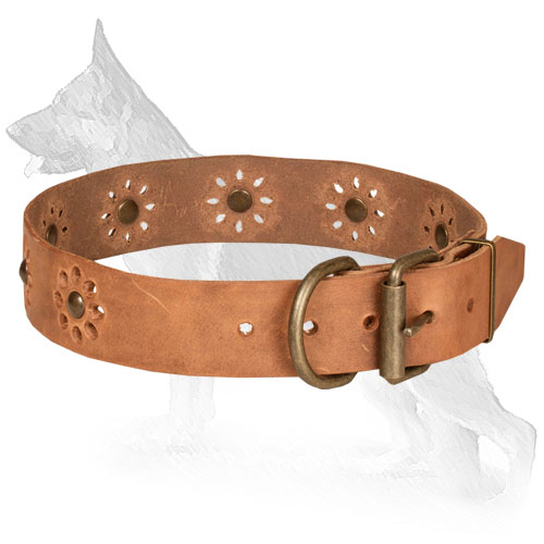 Tan Decorated Leather German Shepherd Collar