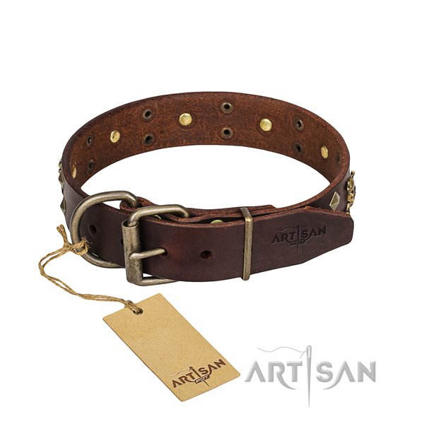Leather dog collar with smooth edges for comfy everyday wearing