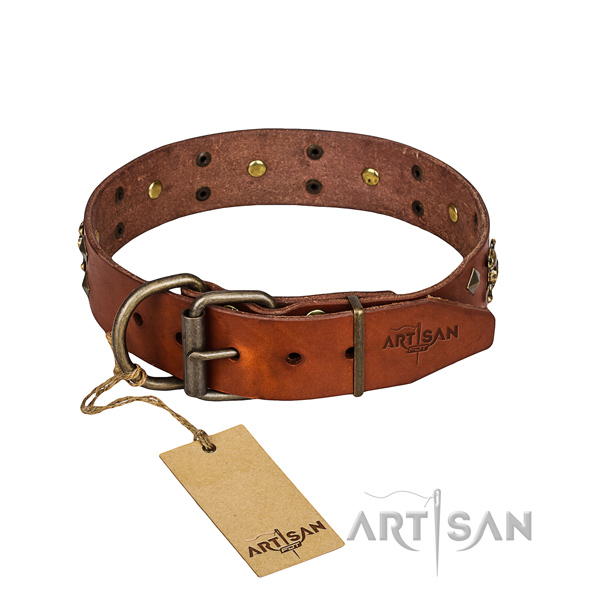 Reliable leather dog collar with reliable hardware