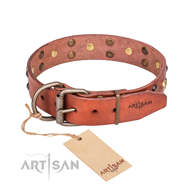 Leather dog collar with smoothed edges for convenient everyday appliance