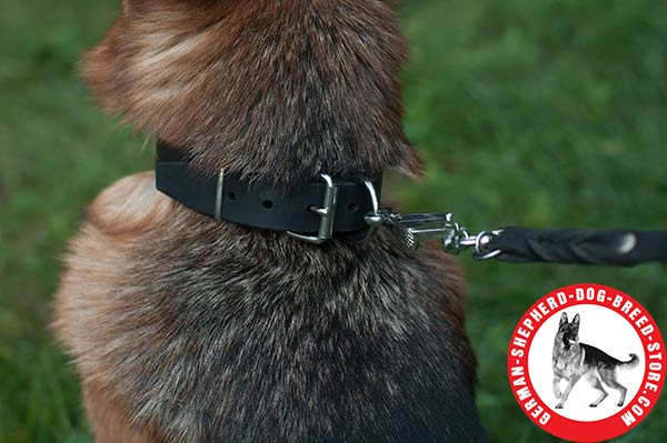 Strong German Shepherd Collar with Nickel-plated Hardware