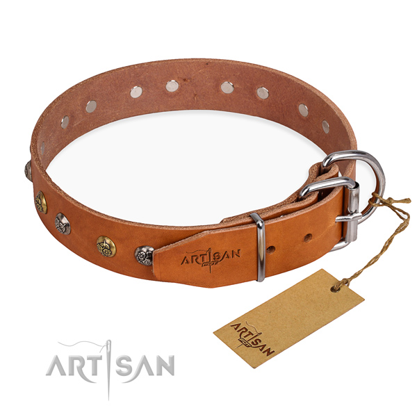 Full grain natural leather dog collar with amazing rust-proof decorations
