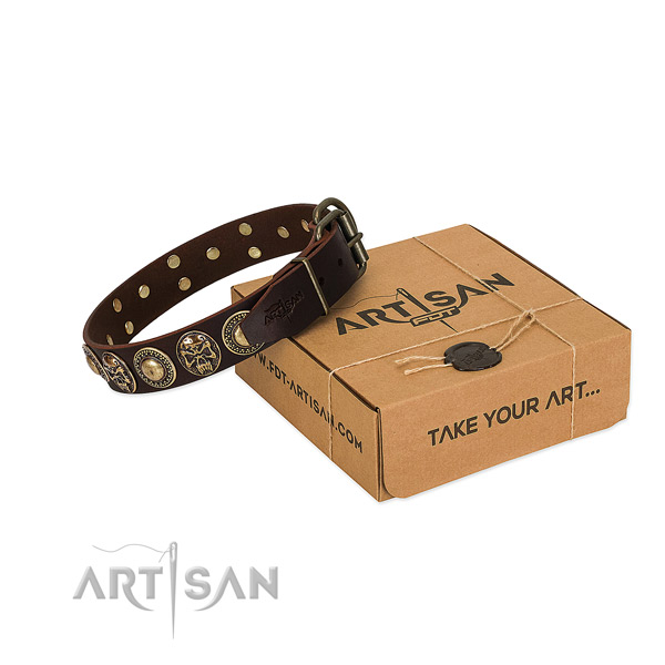 Adorned genuine leather dog collar for comfortable wearing