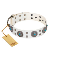 """Blue Sapphire"" Designer FDT Artisan White Leather German Shepherd Collar with Round Plates and Square Studs"