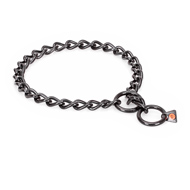 """Fur Protector"" Black Stainless Steel German Shepherd Choke Collar - 1/6 inch (4 mm) wire diameter"