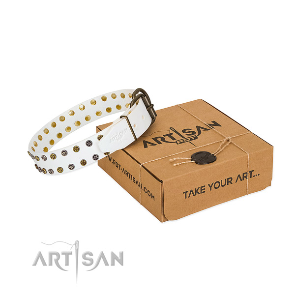 Inimitable full grain leather dog collar with strong embellishments