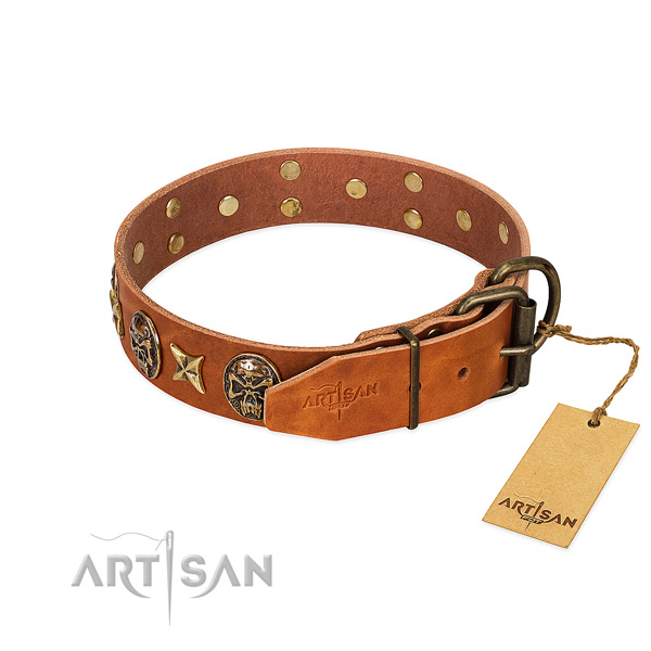 Full grain natural leather dog collar with strong fittings and adornments
