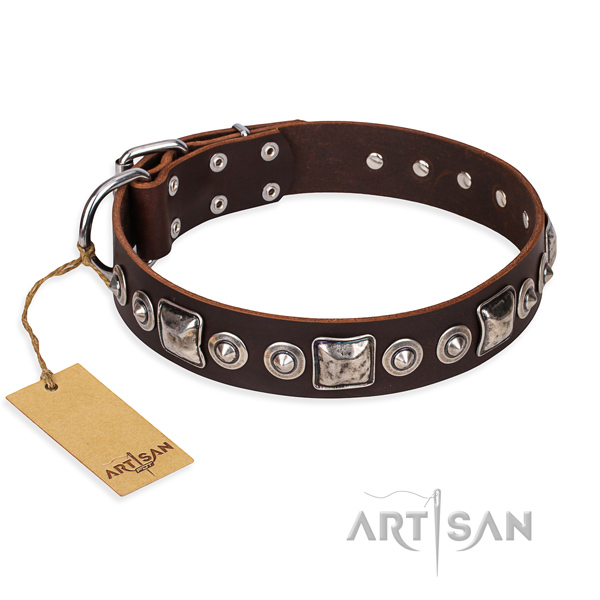 Genuine leather dog collar made of high quality material with rust-proof buckle