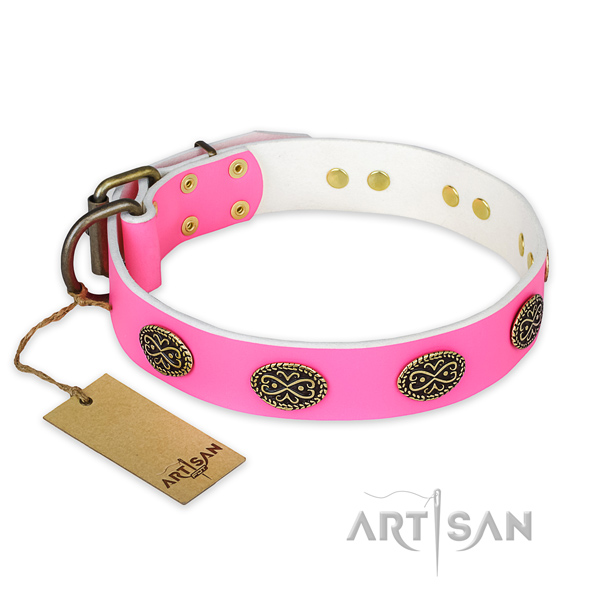 Remarkable full grain natural leather dog collar for daily walking