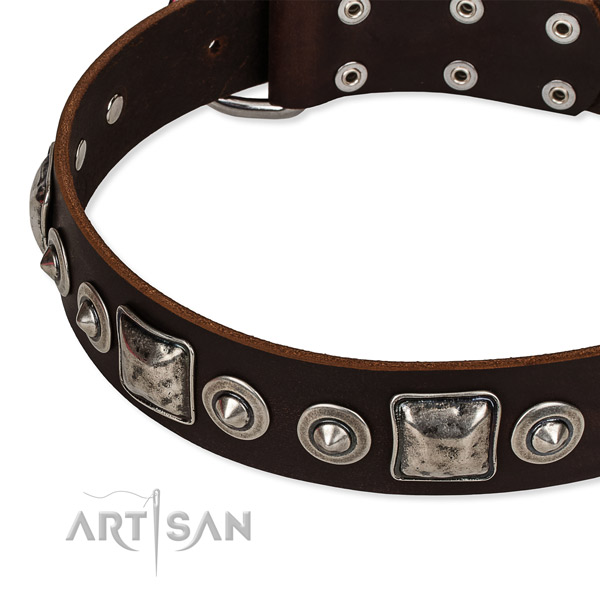 Soft full grain leather dog collar handcrafted for your lovely canine