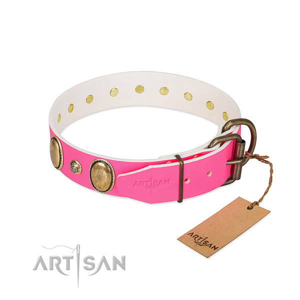Easy wearing soft to touch full grain genuine leather dog collar