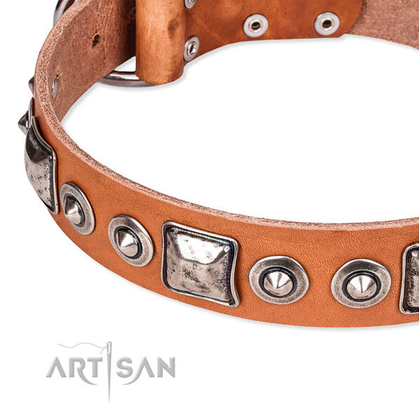 Gentle to touch full grain leather dog collar handcrafted for your stylish dog