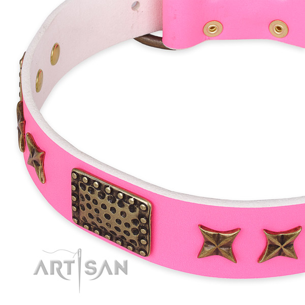 Full grain natural leather collar with corrosion resistant D-ring for your impressive pet