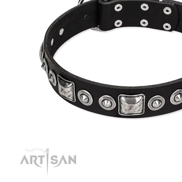 Natural genuine leather dog collar made of soft material with embellishments
