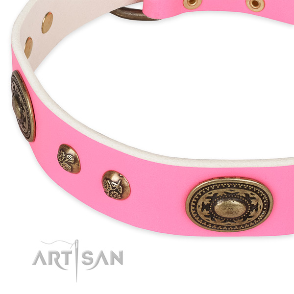 Designer full grain genuine leather collar for your beautiful canine