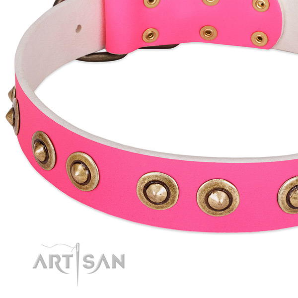 Rust resistant fittings on full grain leather dog collar for your doggie