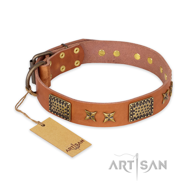 Exquisite full grain genuine leather dog collar with strong hardware