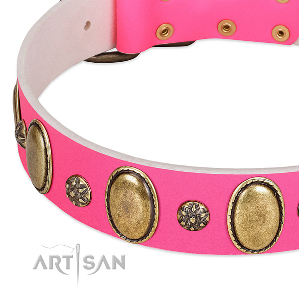 Easy wearing soft to touch full grain natural leather dog collar with adornments