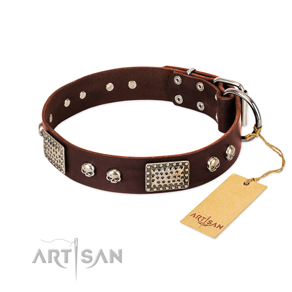 Easy adjustable full grain natural leather dog collar for stylish walking your canine