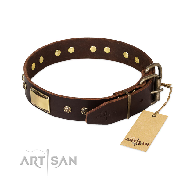 Fine quality full grain natural leather collar for your four-legged friend