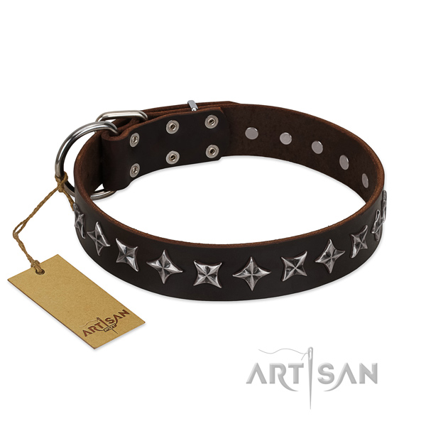 Comfortable wearing dog collar of high quality genuine leather with embellishments