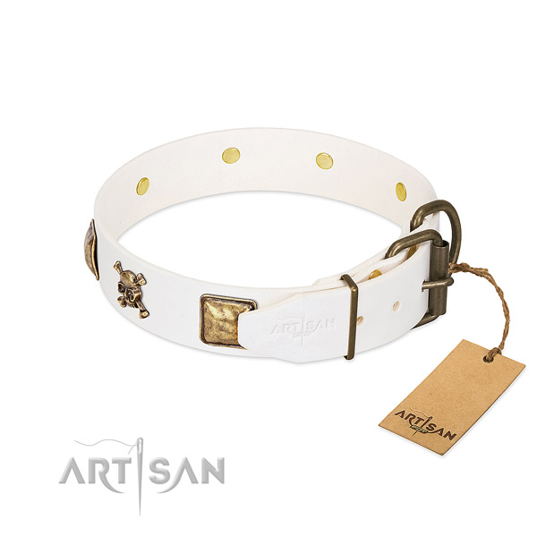 Significant full grain natural leather dog collar with durable decorations