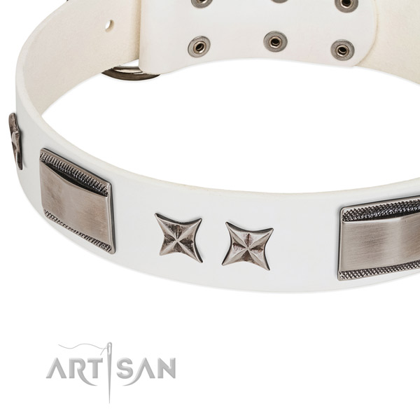 Soft genuine leather dog collar with corrosion resistant fittings