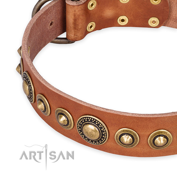 Quality natural genuine leather dog collar crafted for your lovely doggie