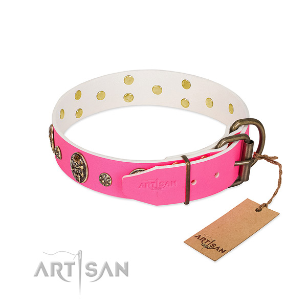 Reliable traditional buckle on full grain genuine leather collar for daily walking your pet