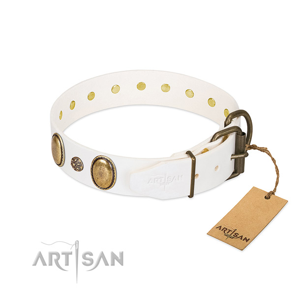 Handy use soft natural genuine leather dog collar