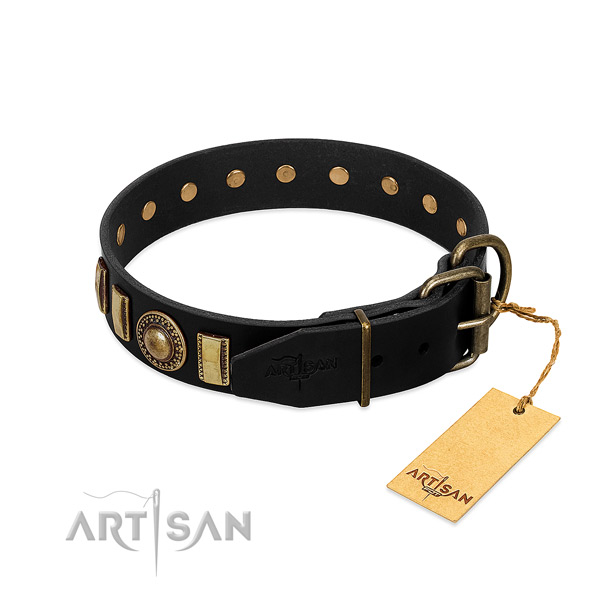 Flexible full grain genuine leather dog collar with adornments