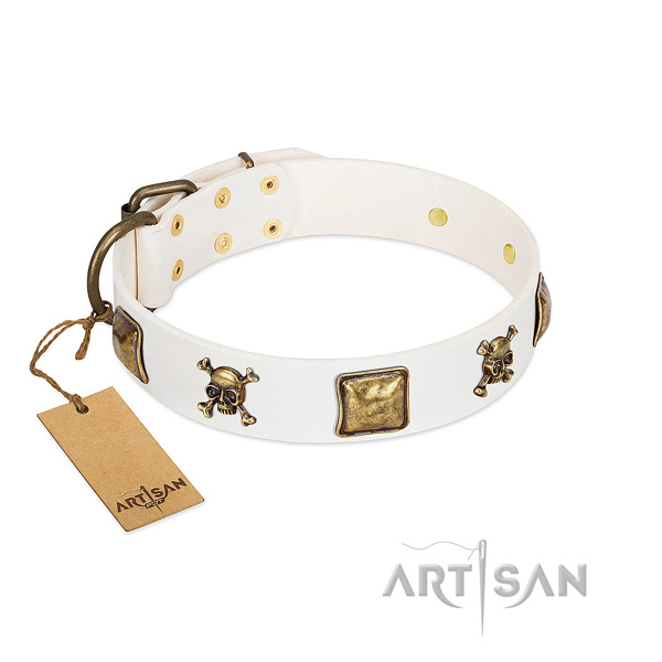 Stylish genuine leather dog collar with corrosion proof embellishments