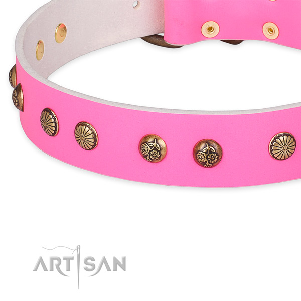 Remarkable full grain genuine leather collar for your lovely doggie
