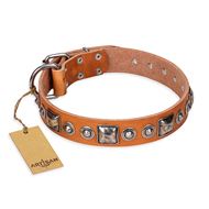"""Era of Future"" FDT Artisan Handcrafted Tan Leather German Shepherd Collar with Decorations"