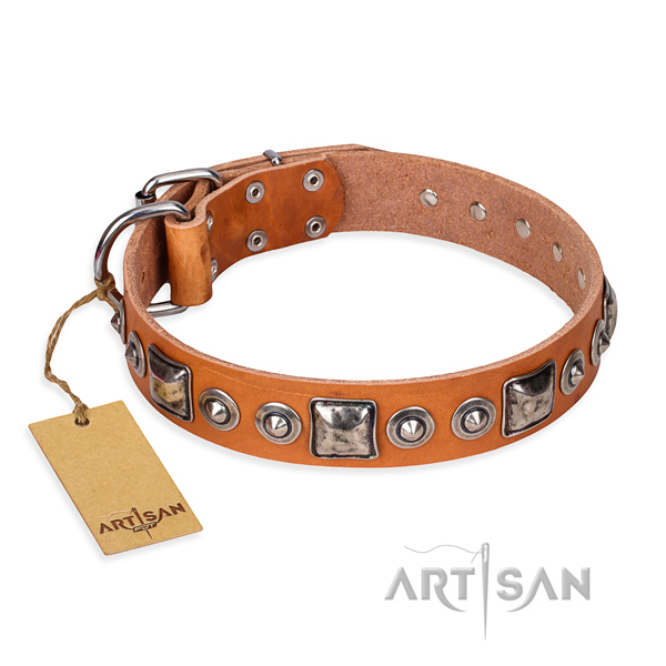 Full grain leather dog collar made of soft material with durable D-ring