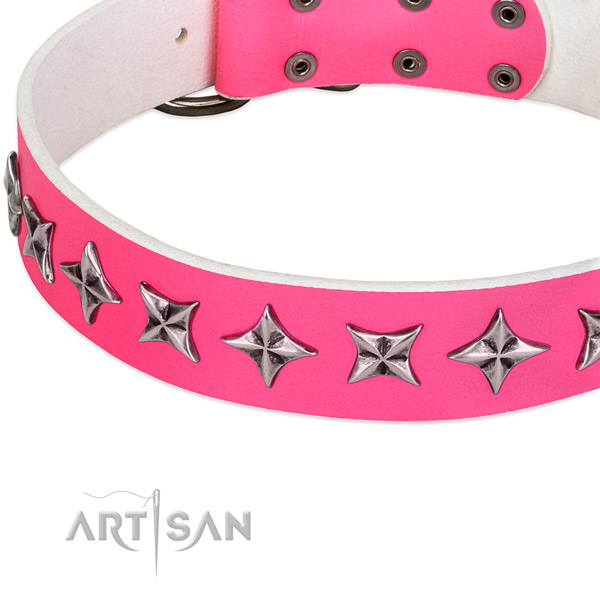 Comfortable wearing decorated dog collar of best quality leather