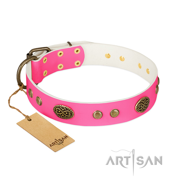 Rust resistant hardware on leather dog collar for your doggie