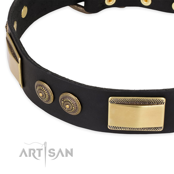 Unique full grain natural leather collar for your impressive pet