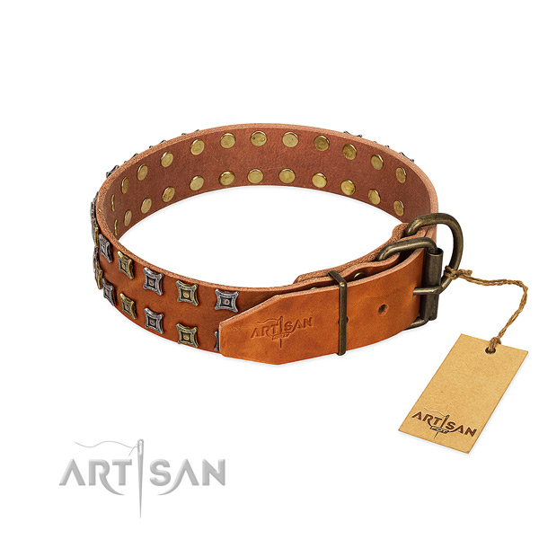 Quality full grain leather dog collar handcrafted for your canine