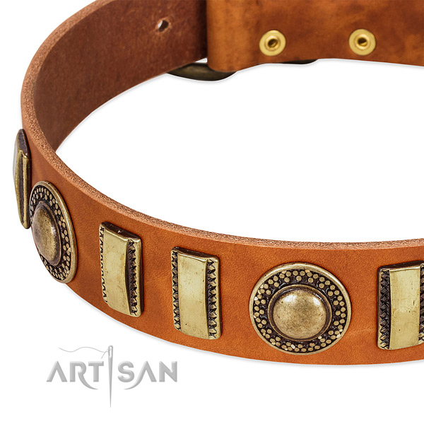 Top rate full grain leather dog collar with durable D-ring