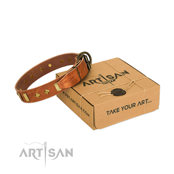 Easy wearing flexible genuine leather dog collar with adornments