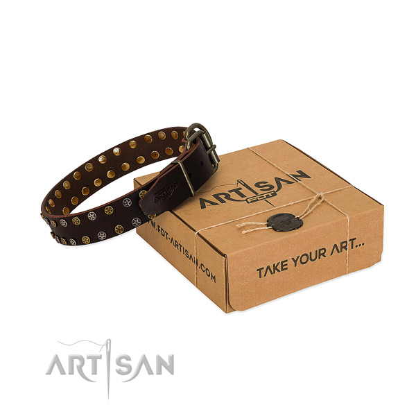 Comfy wearing reliable full grain natural leather dog collar with adornments