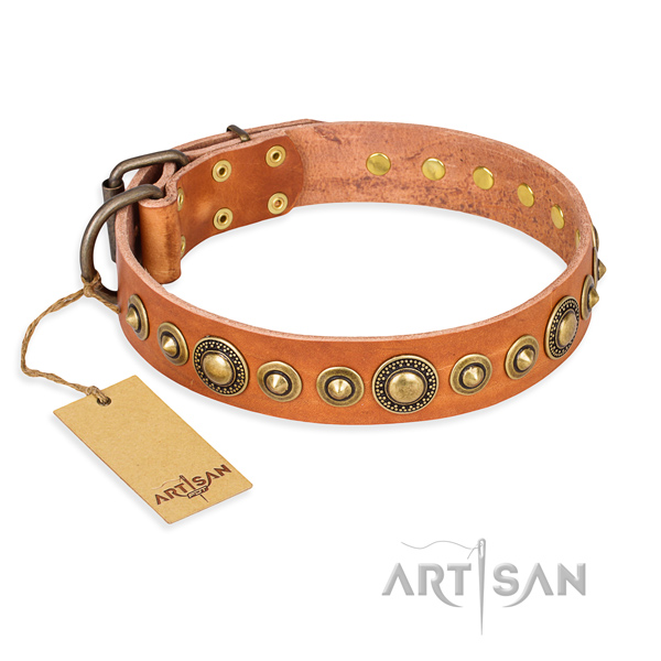 Strong full grain genuine leather collar handcrafted for your pet