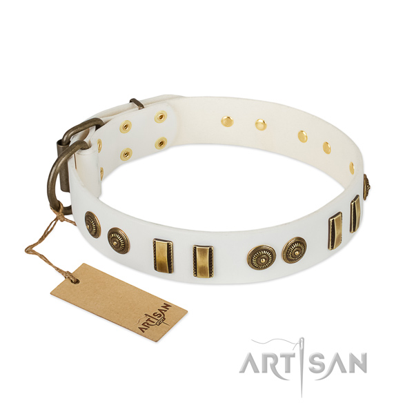Corrosion proof fittings on natural leather dog collar for your doggie