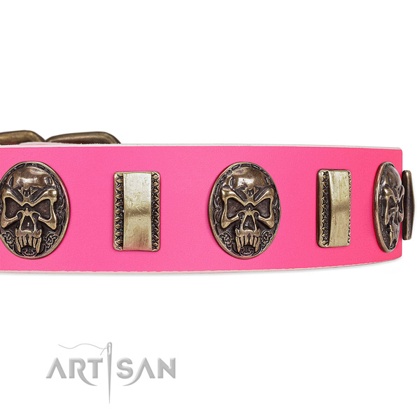 Corrosion resistant fittings on full grain natural leather dog collar for your four-legged friend