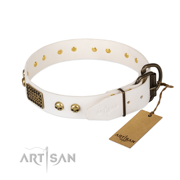 Easy adjustable leather dog collar for everyday walking your pet